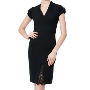 Betsey Johnson Black Dress with Lace Cap Sleeves